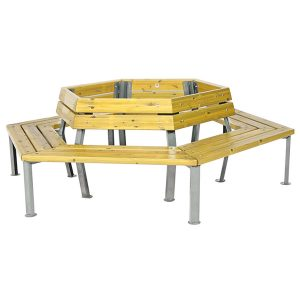 Mesa exagonal de madera para exterior