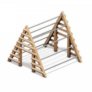 Casita de barras de madera y acero para trepar 04.02.031