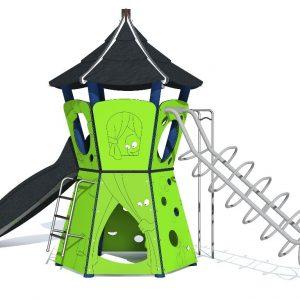 juego de plástico reciclado para parques infantiles, con forma de cafetera